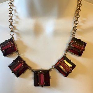 Coldwater Creek Necklace Ruby Red Antique Gold